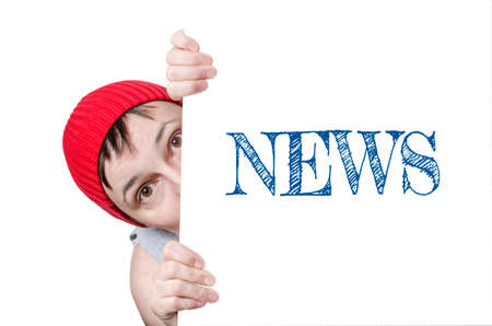 Surprised Female with Red Cap Holding News Card Stock Photo