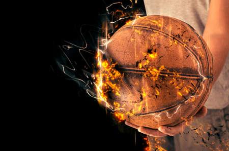 nba: Basketball background. Fire illustration.