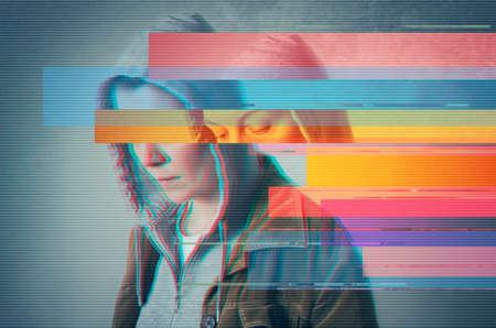Depression. Glitched style photo. Stock Photo