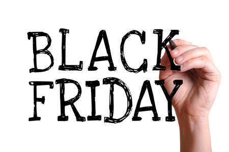 christmas savings: Hand writing Black Friday with black marker on transparent wipe board.