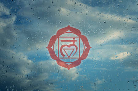 sahasrara: Muladhara chakra symbol. Poster for yoga class with a clouds view.