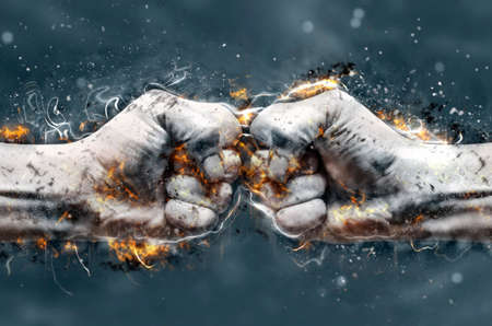 戦うために、互いに当る 2 つの拳。イラストを発射します。