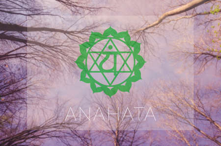 sahasrara: Anahata chakra symbol. Poster for yoga class with sky view.