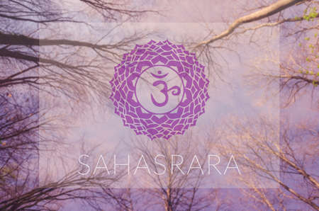 sahasrara: Sahasrara chakra symbol. Poster for yoga class with sky view.