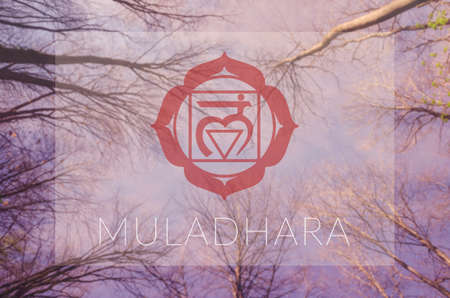 Muladhara chakra symbol. Poster for yoga class with sky view. Stock Photo - 81848858