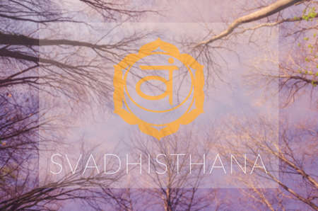 sahasrara: Svadhisthana chakra symbol. Poster for yoga class with sky view.