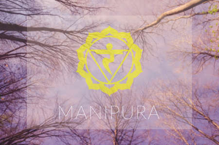 manipura: Manipura chakra symbol. Poster for yoga class with sky view.
