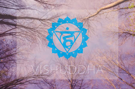 vishuddha: Vishuddha chakra symbol. Poster for yoga class with sky view.