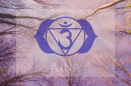 sahasrara: Ajna chakra symbol. Poster for yoga class with sky view.