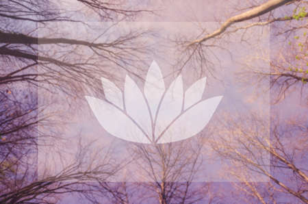 sahasrara: Yoga. Lotus symbol. Poster for yoga class with a sky view.