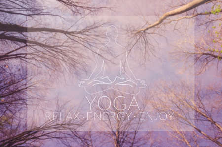 Yoga. Poster for yoga class with a sky view.