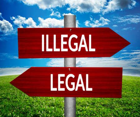 법적인 대 불법의 화살표, 딜레마 개념.
