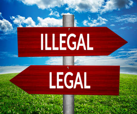 LEGAL versus ILLEGAL arrows, dilemmas concept.