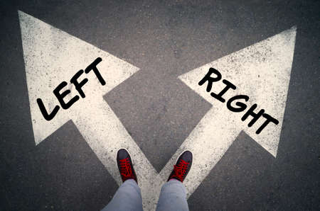RIGHT versus LEFT written on the white arrows, choices or dilemmas concept.