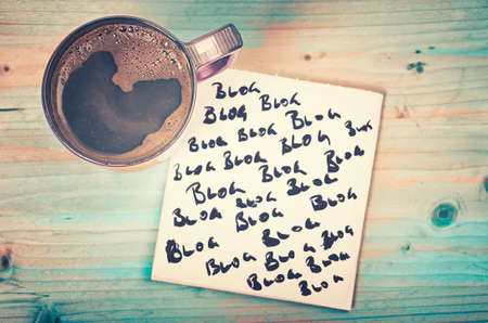 marketing online: Blog, blog, blog - blogging concept on a napkin with cup of espresso coffee