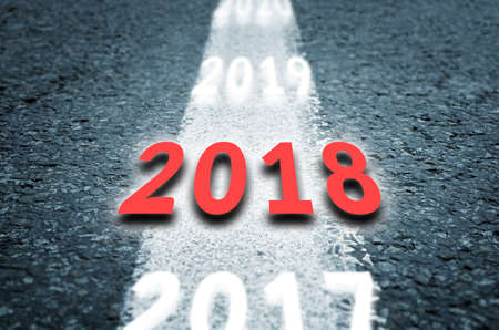 New 2018 Year Concept. 2018 New Year Road. Stock Photo