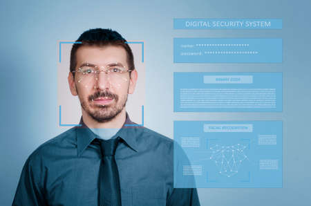 Digital security system for identity protection and face recognition. Digital identity protection concept.