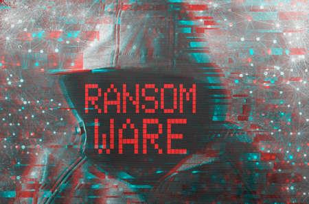 Concepto criminal cibernético de ransomware con pirata informático encapuchado sin rostro