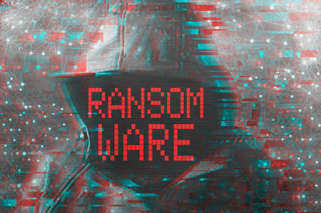 Ransomware Cyber-Kriminalkonzept mit gesichtslosem Hacker mit Kapuze