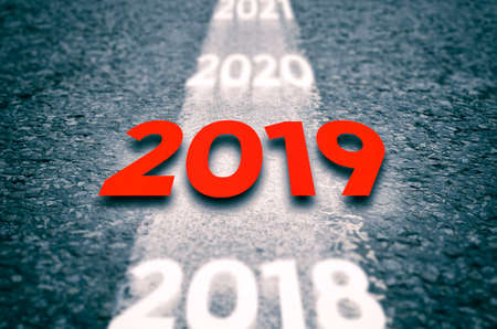 New 2019 Year Concept. 2019 New Year Road. Stock Photo