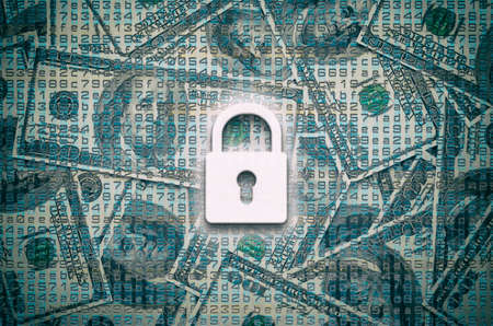 Lock on 100 dollar banknotes background - concept of saving money
