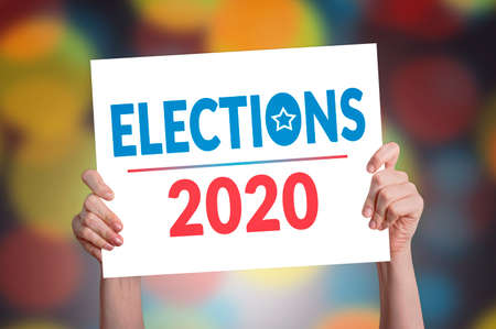 Elections 2020 Card with Bokeh Background Stock Photo