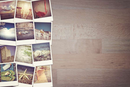 Travel photo collage on wooden background Stock Photo