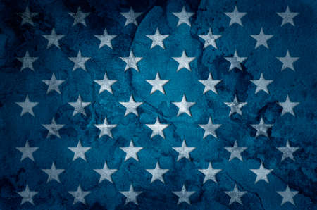 USA flag stars on grunge concrete wall background
