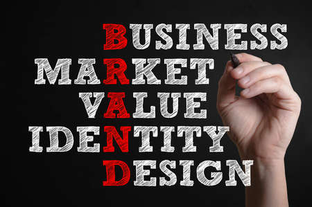 Business Market Value Identity Design. Brand advertising marketing strategy identity business concept. Stock Photo