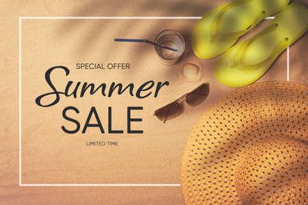 Summer sale background with beach accessories