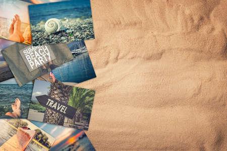 Travel photo collage on sand background Reklamní fotografie