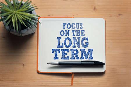 Focus on the long term motivational quote  Фото со стока