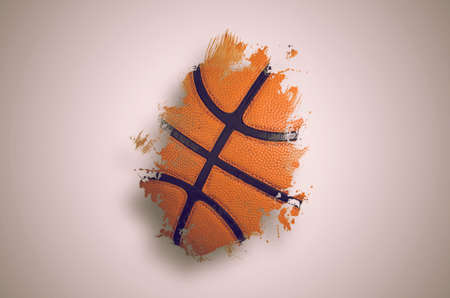 Basketball banner background. Abstract basketball paintbrush background with copy space. Фото со стока