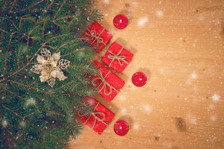 Christmas gift box with snowflakes, top view. Merry Christmas and Happy New Year composition. Фото со стока