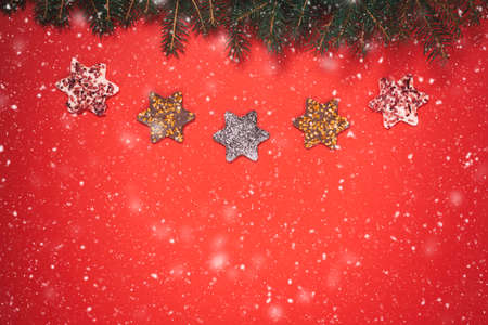 Christmas background with festive decoration and space for text