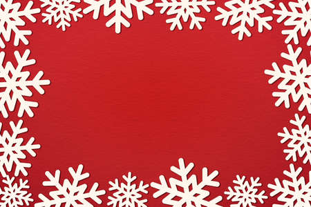Christmas snowflakes decoration top view with copy space