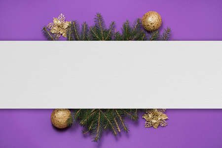 Blank paper on christmas background. Christmas composition background with copy space.
