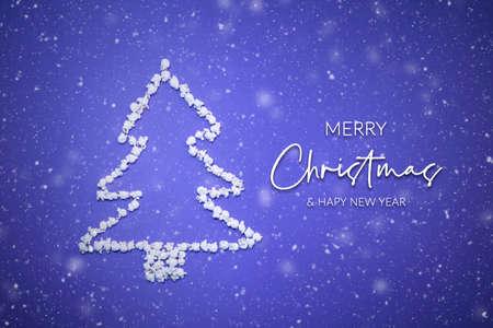 Merry Christmas and Happy New Year card with popcorn Christmas tree Фото со стока