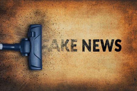 Cleaning Up Fake News. Fake news and misinformation concept.