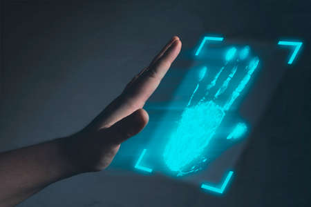 Identification. Biometrics or cyber security concepts. Фото со стока