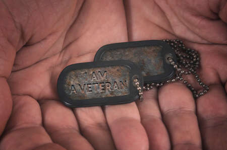 I am veteran military dog tag in mans hands.