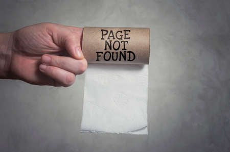 Page not found. Out of toilet paper concept. Stock Photo