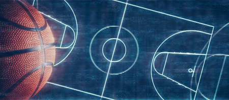 Abstract dark basketball court with copy space.