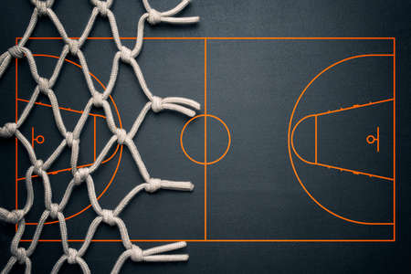 Basketball banner background. Dark basketball background with copy space. Stock Photo