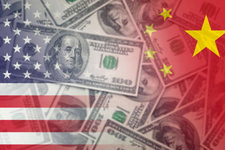 United states and China flags with dollars banknotes mixed media image
