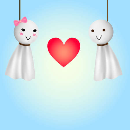 relic: Female and male teru teru bozu doll in love moment with red heart and clear blue background.