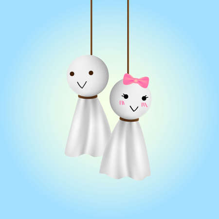 orleans symbol: Female and male teru teru bozu doll in love moment with clear blue background. Illustration