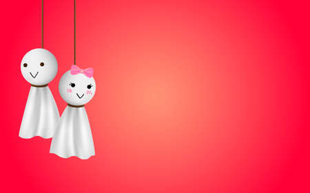 relic: Teru teru bozu, japanese traditional handmade doll to stop a rainy day with red background and space Illustration