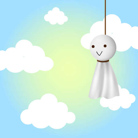 Teru teru bozu, japanese traditional handmade doll to stop a rainy day with clear blue sky background.