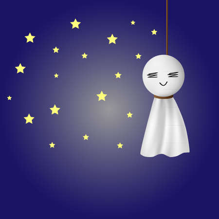 fine weather: Teru teru bozu, japanese traditional handmade doll to stop a rainy day with stars and night background. Illustration